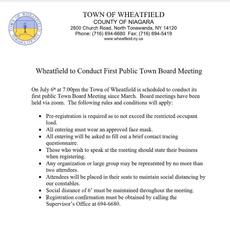 Town Board Meeting for July 6th